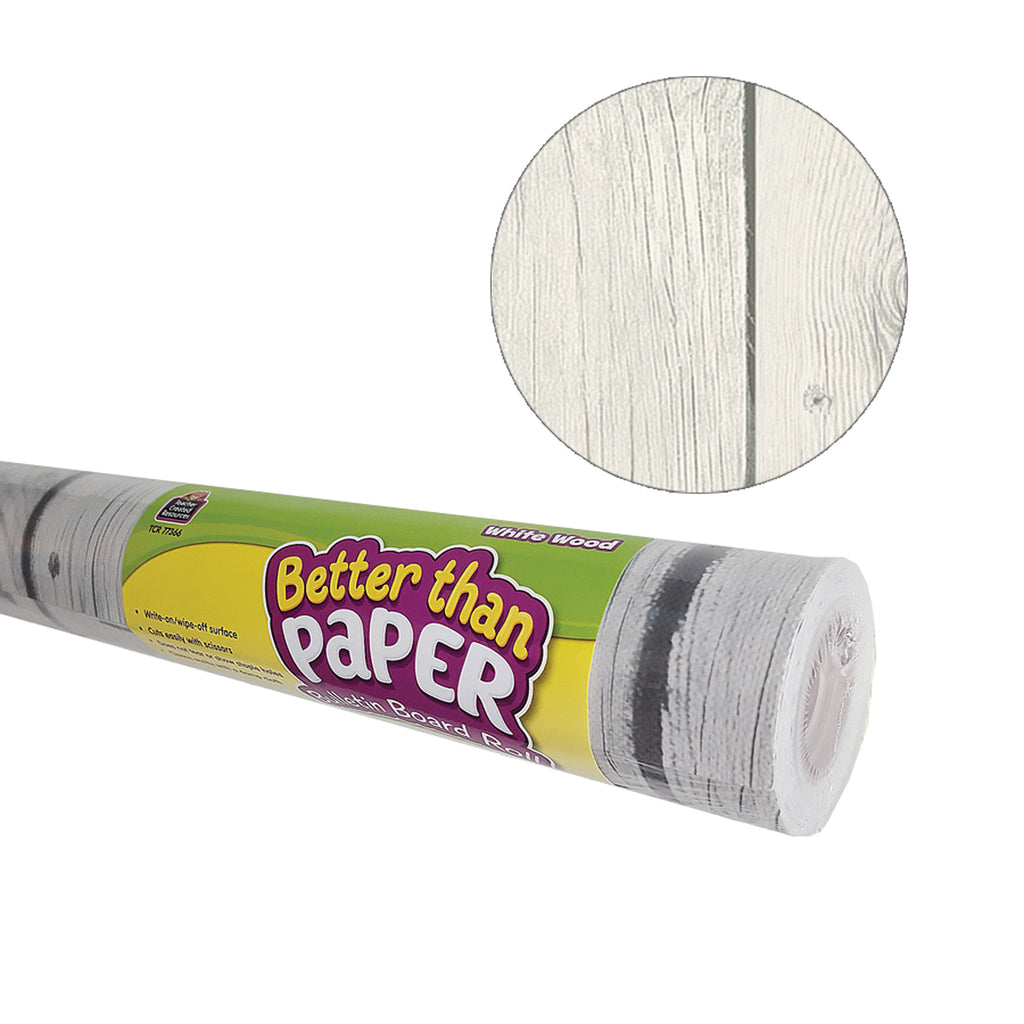 Teacher Created Resources White Wood Better than Paper Bulletin Board Fabric, Four 4' x 12' Rolls