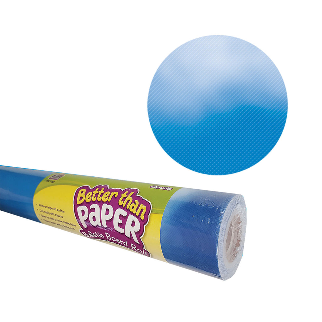 Teacher Created Resources Clouds Better than Paper Bulletin Board Fabric, Four 4' x 12' Rolls