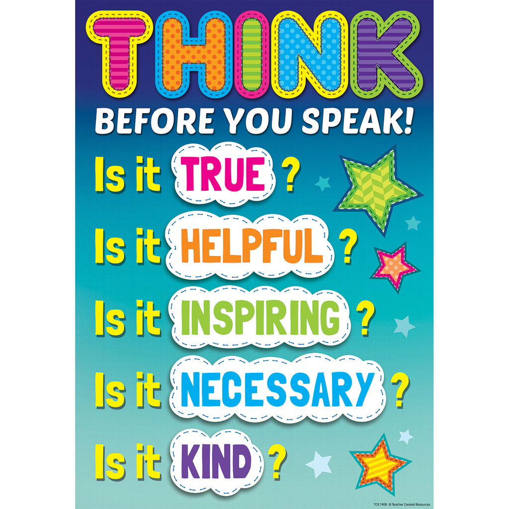 Teacher Created Resources Think Before You Speak Positive Poster