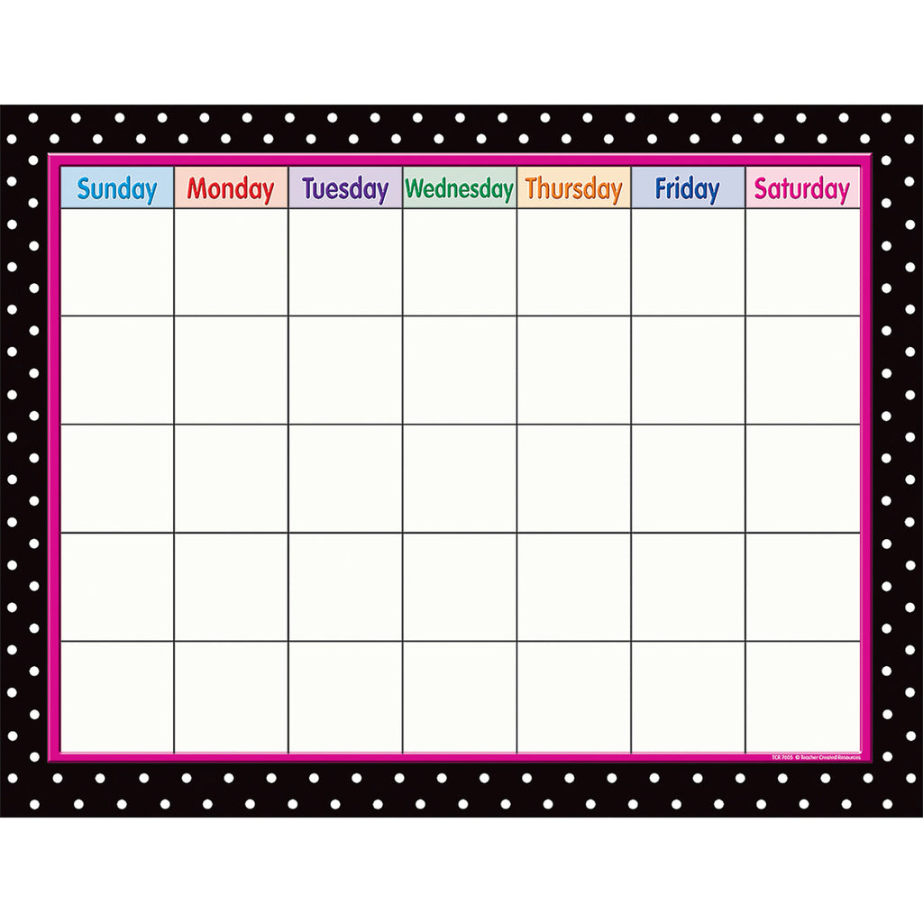 Teacher Created Resources Black Polka Dots Calendar Chart