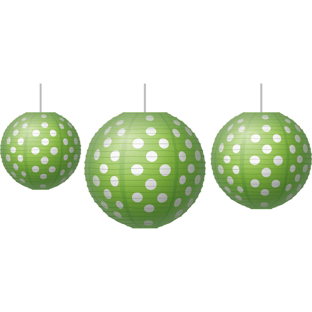 Teacher Created Resources Paper Lanterns, Lime Polka Dots
