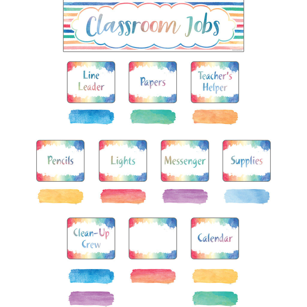 Teacher Created Resources Watercolor Classroom Jobs Mini Bulletin Board Set