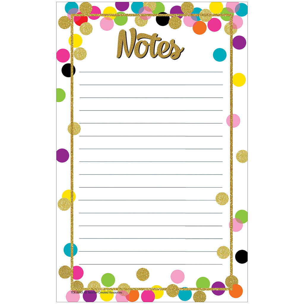 Teacher Created Resources Confetti Notepad