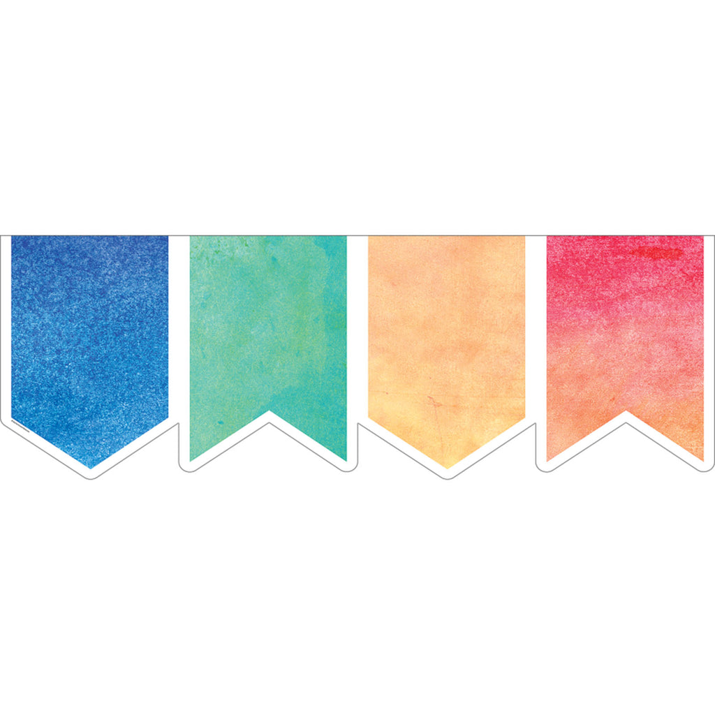 Teacher Created Resources Watercolor Pennants Big Big Border