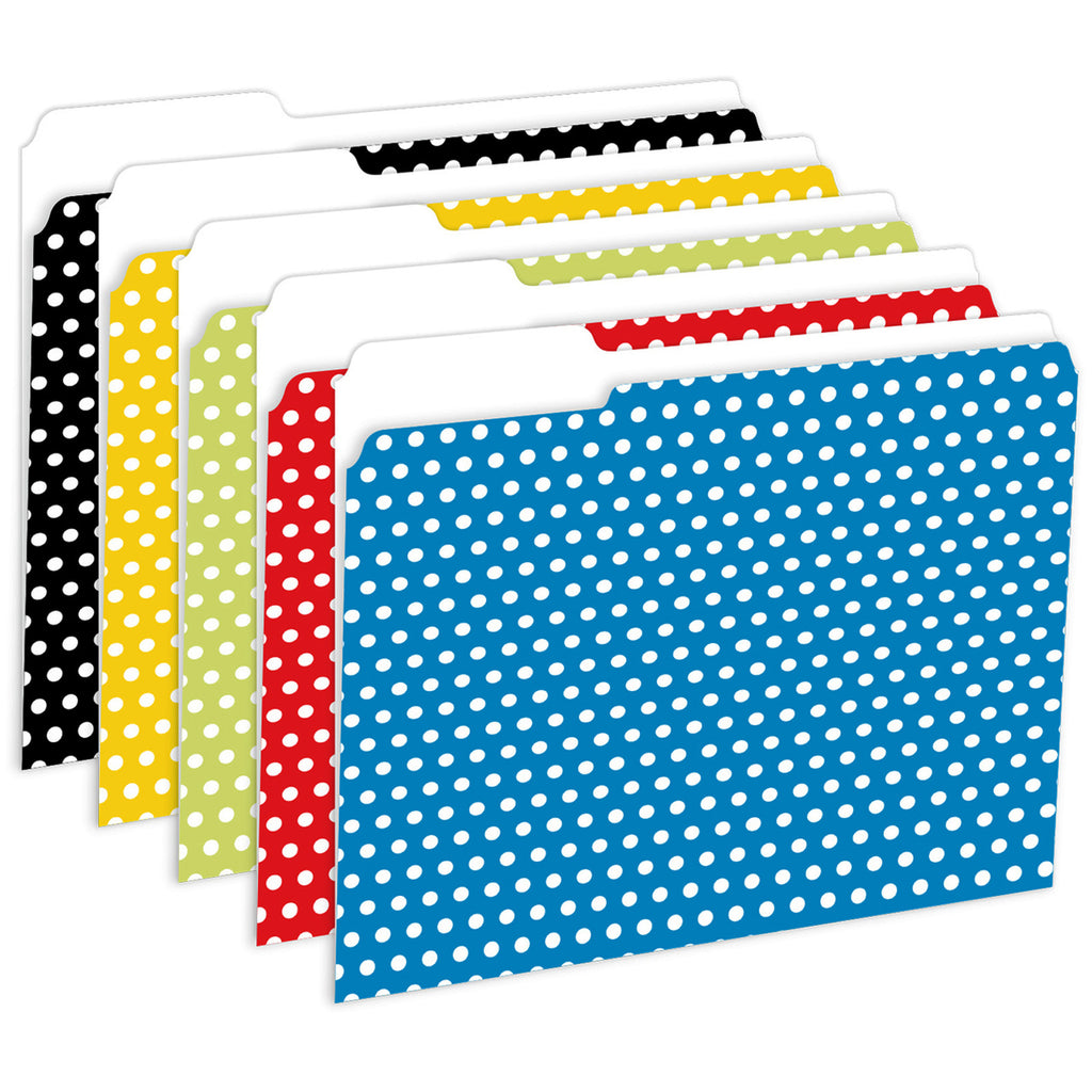 Top Notch Teacher Designer File Folders Polka Dot