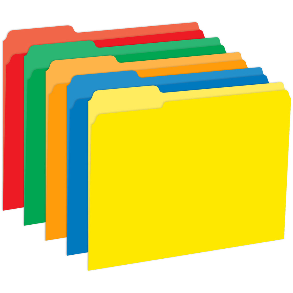 Top Notch Teacher Primary Assorted File Folders Half Cut Assorted Colors 9.5 x 11.75 10Pk