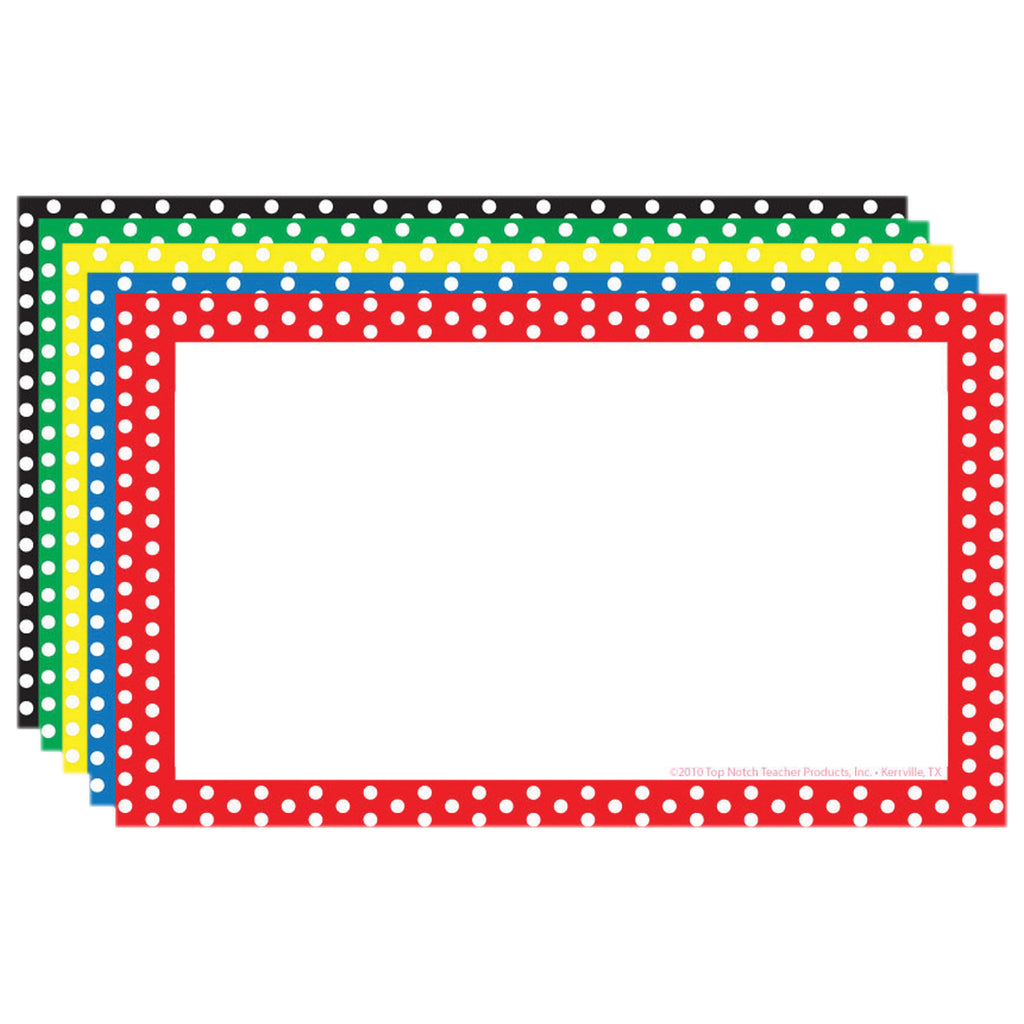 Top Notch Teacher Border Index Cards 3 x 5 Polka Dot Blank
