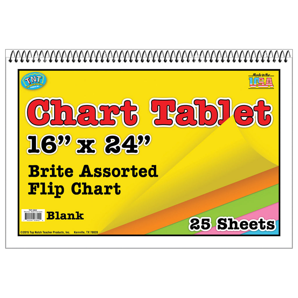 Top Notch Teacher Chart Tablets 16X24 Assorted Blank