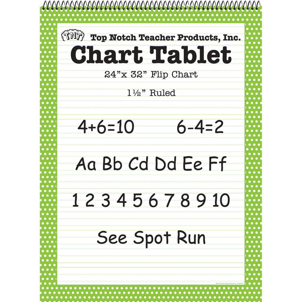 Top Notch Teacher Polka Dot Chart Tablet Green 1.5 Ruled