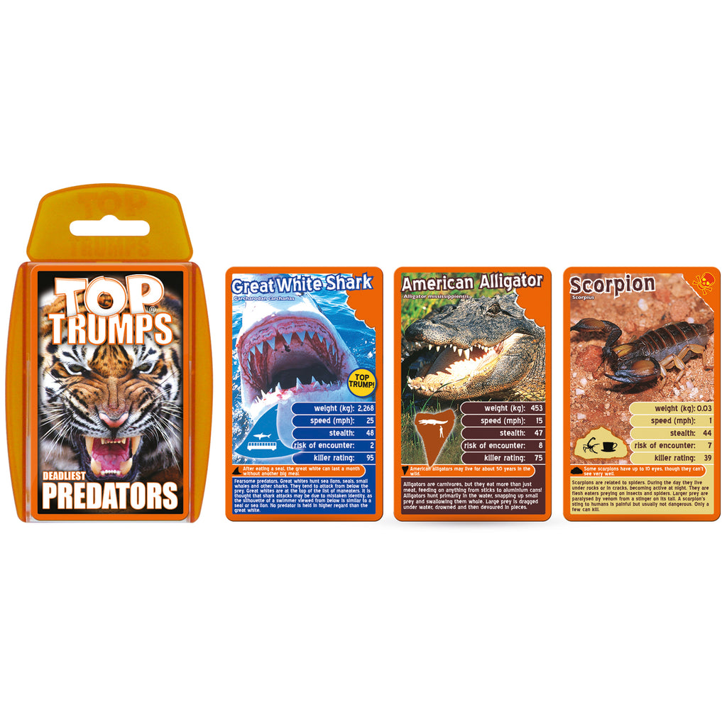 Top Trumps: Deadliest Predators Cards