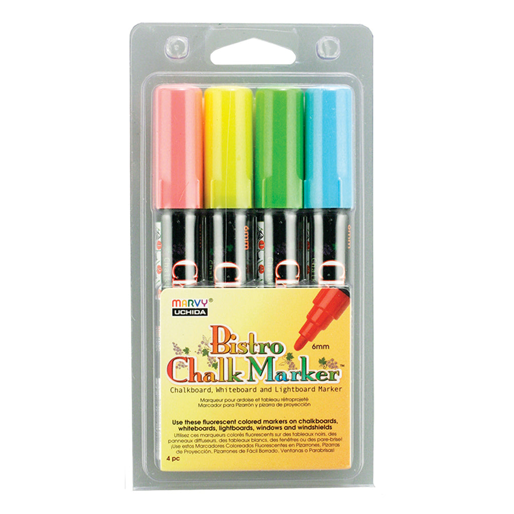Uchida Bistro Fluorescent Chalk Markers, Set of 4 (Red, Blue, Green, Yellow)
