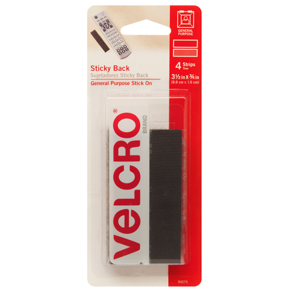 "VELCRO® Brand Sticky Back 3-1/2"" x 3/4"" Strips, 4 Sets, Black"