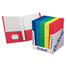 School Grade Twin Pocket Folders with Fasteners, 100 Per Box