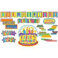 Color My World Welcome / Class Organization Bulletin Board Set (Spanish)