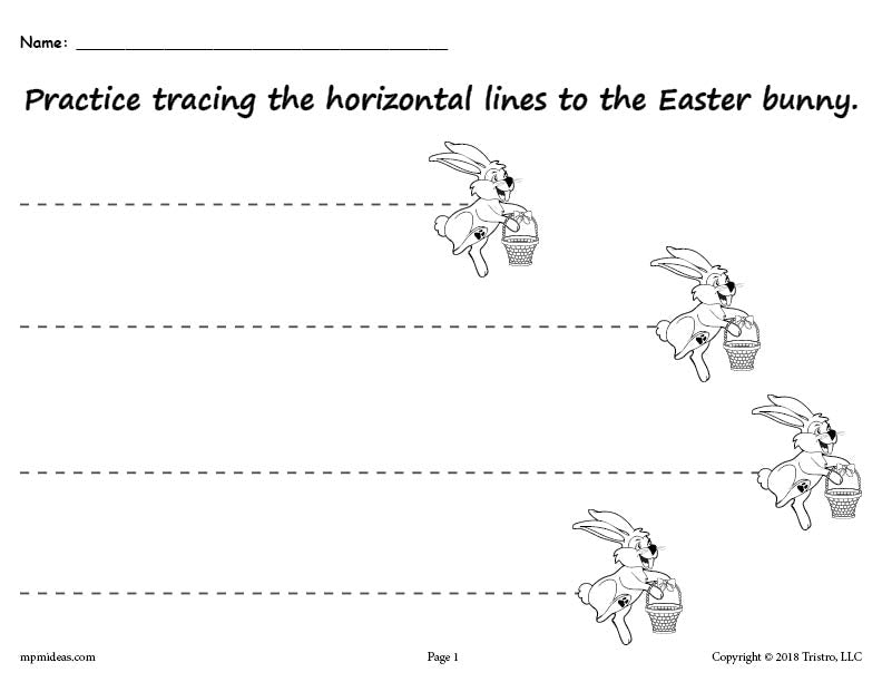 FREE Printable Easter Bunny Line Tracing Worksheets!