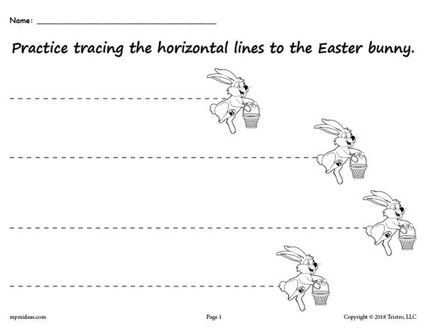 Printable Easter Bunny Line Tracing Worksheets Supplyme