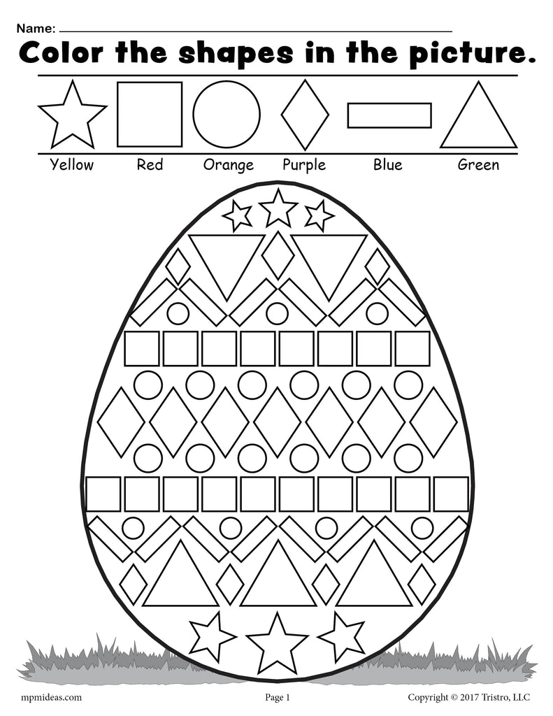 Free easter egg shapes worksheet coloring page supplyme for Worksheet coloring pages
