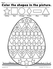 Easter Egg Shapes Worksheet & Coloring Page!