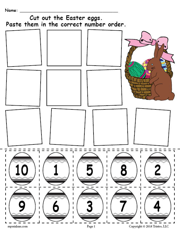 picture relating to Free Printable Numbers 1 10 named Free of charge Printable Easter Egg Quantity Buying Worksheet Figures