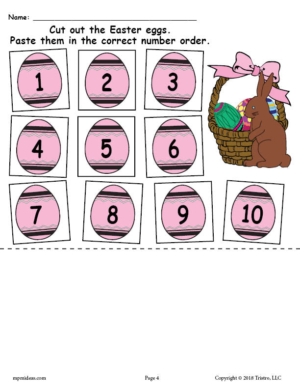 Printable Easter Egg Number Ordering Worksheet Numbers 1-10!