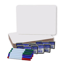 Dry Erase Boards, Colored Pens and Erasers, Set of 12