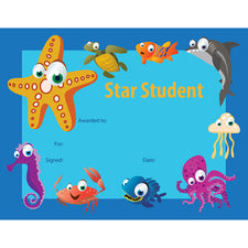 Under the Sea Star Student Certificate