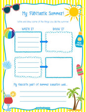 """My 'FUN'tastic Summer!"" Printable Worksheet"