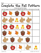 FREE Printable Fall Pattern Worksheet!