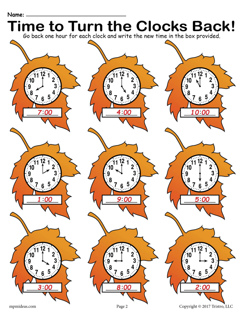 fall back printable fall themed telling time worksheet. Black Bedroom Furniture Sets. Home Design Ideas