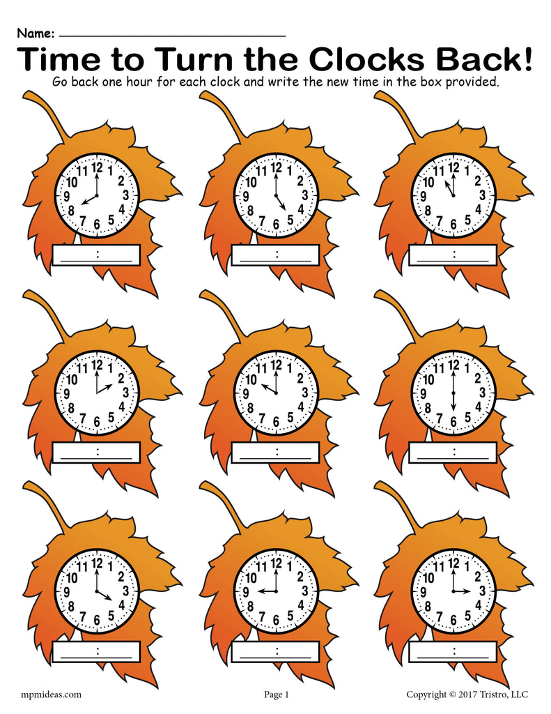 Fall Back! FREE Printable Fall Themed Telling Time Worksheet!