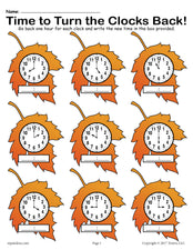 """Fall Back!"" FREE Printable Fall Themed Telling Time Worksheet!"