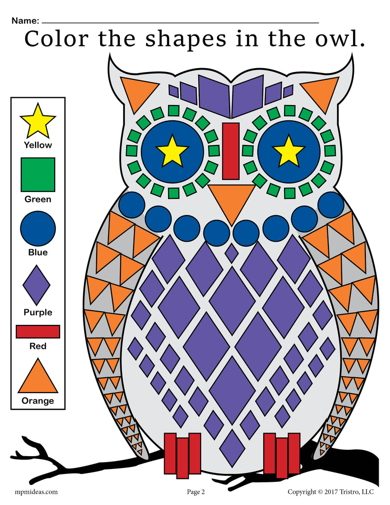 FREE Fall Themed Owl Shapes Worksheet & Coloring Page!