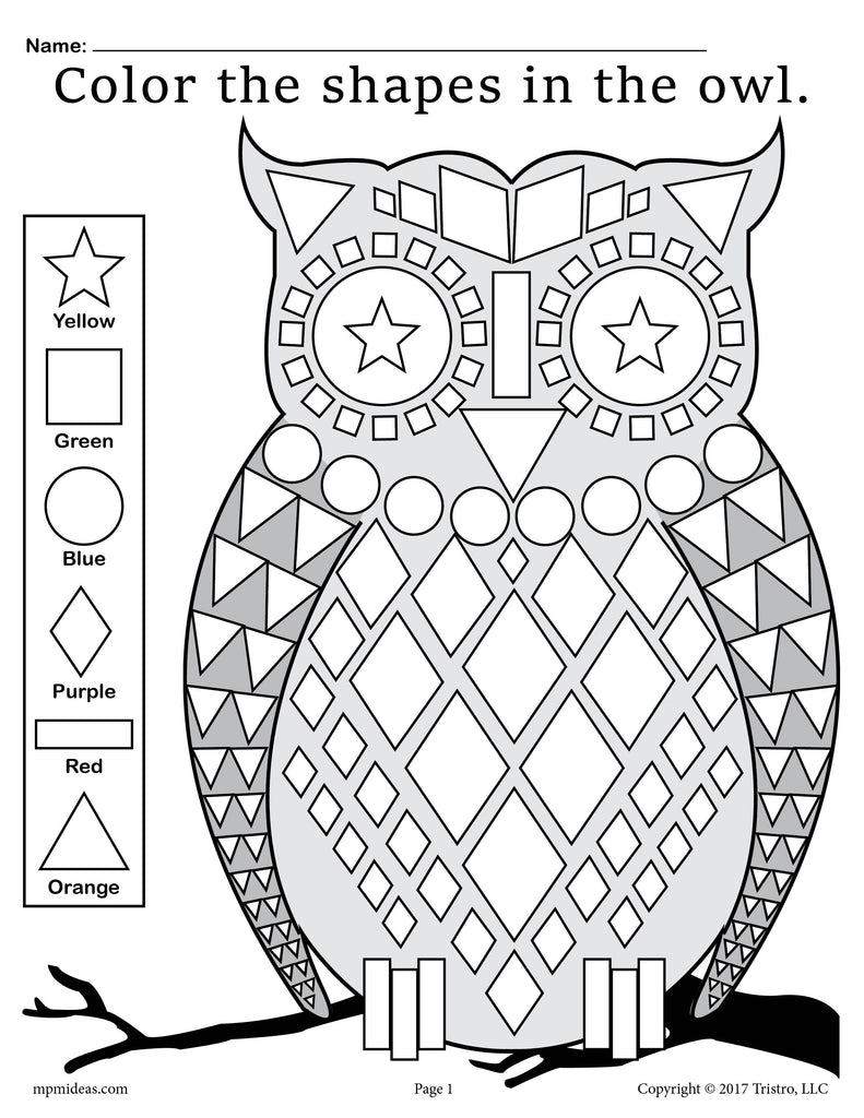 FREE Fall Themed Owl Shapes Worksheet