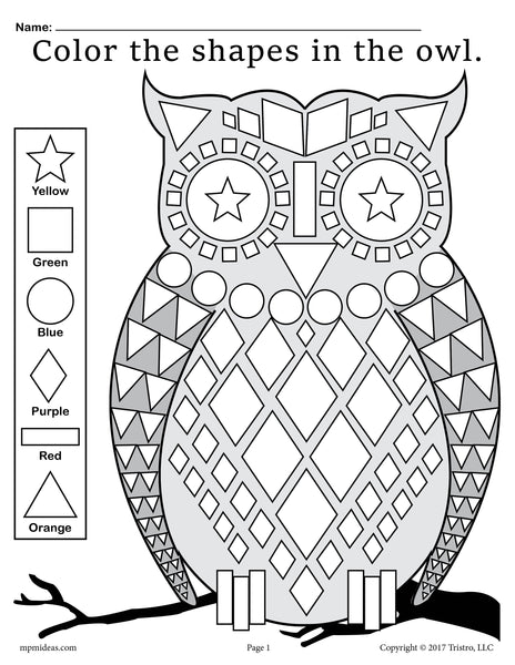 free fall themed owl shapes worksheet coloring page supplyme. Black Bedroom Furniture Sets. Home Design Ideas