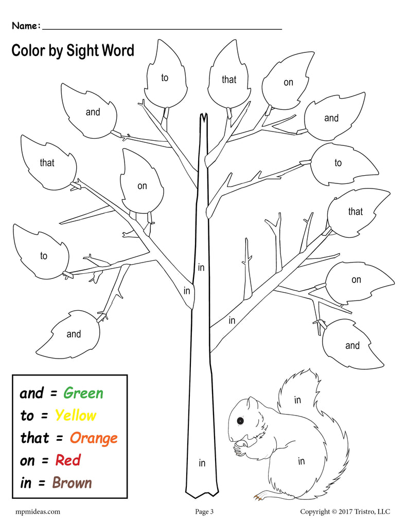 - Fall Themed Color By Sight Words - 2 Printable Preschool Sight