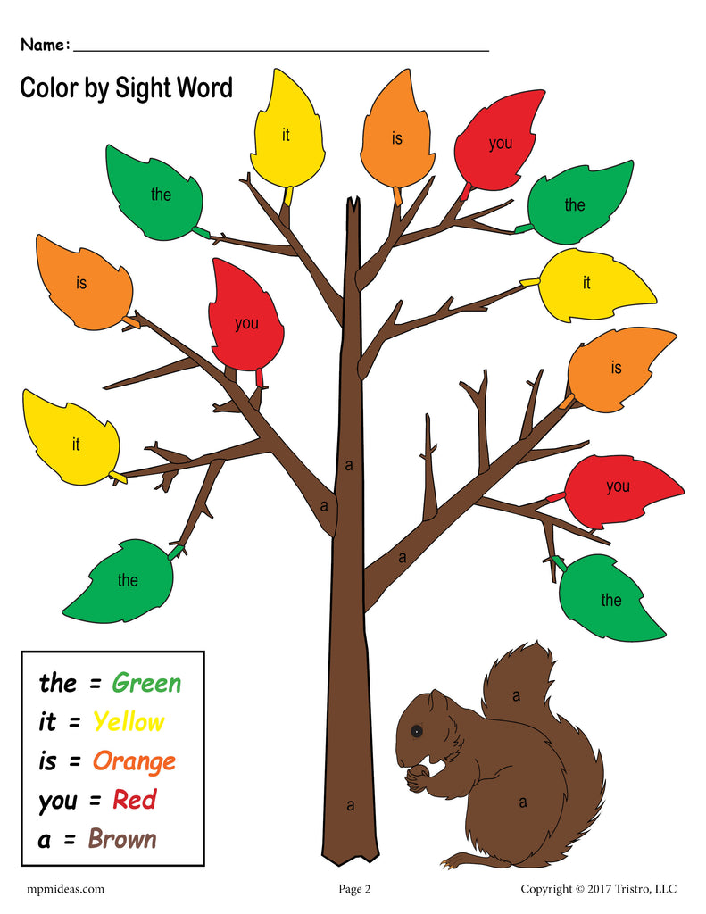 Fall Themed Color By Sight Words 2 Free Printable