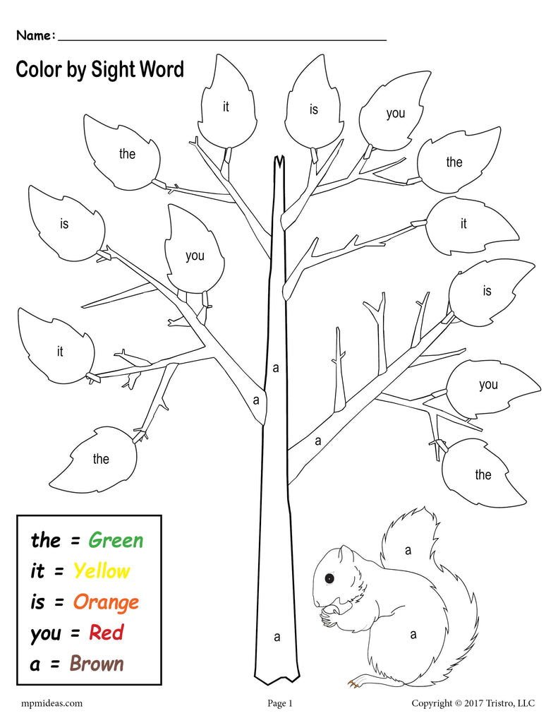 Fall Themed Color By Sight Words - 2 FREE Printable Preschool Sight Word Worksheets!