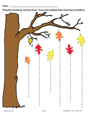 FREE Printable Fall Line Tracing Worksheets!