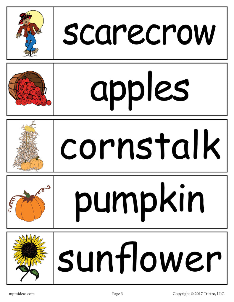 40 Fall Word Wall Words