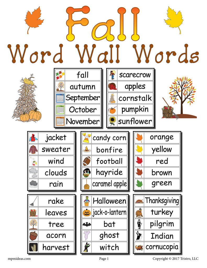 graphic relating to Word Wall Printable identified as 40 Tumble Term Wall Words and phrases