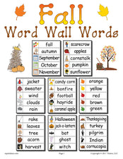 40 Fall Word Wall Words - FREE Printable