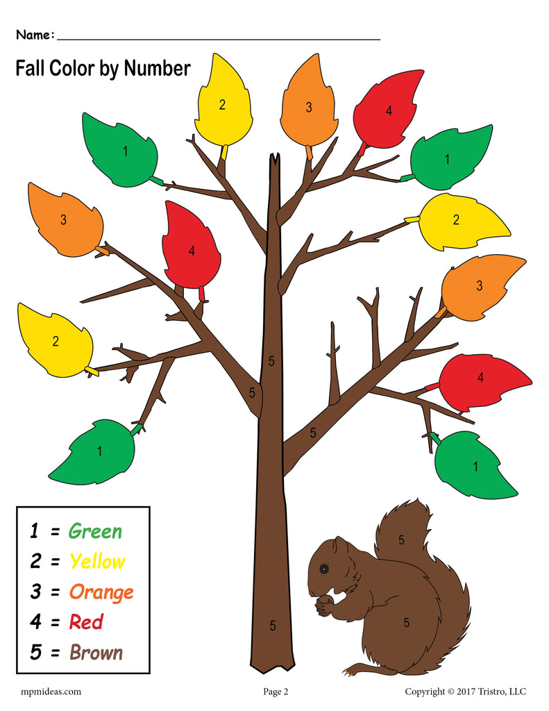 Fall Color-By-Number Answer Key