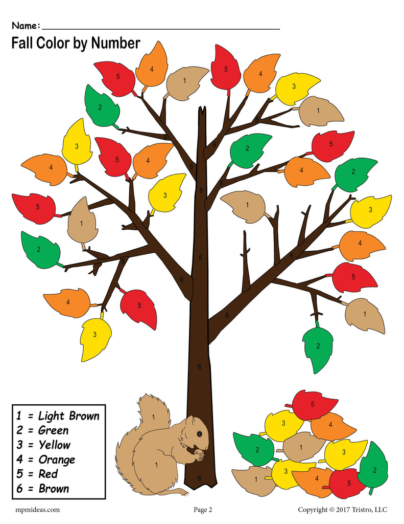 FREE Printable Fall Themed Color-by-Number Worksheet!