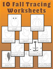 10 Printable Fall Tracing & Handwriting Worksheets!