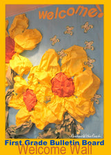 "3-D Spring Flowers ""Welcome!"" Bulletin Board Idea"