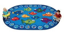 "Fishing for Literacy Alphabet & Numbers Classroom Circle Time Rug, 6'9"" x 9'5"" Oval"