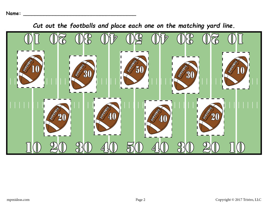 FREE Printable Football Themed Number Matching Worksheet! – SupplyMe