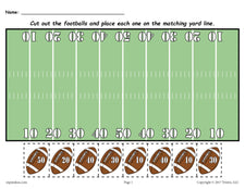 FREE Printable Football Themed Number Matching Worksheet!