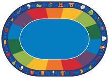 "Fun With Phonics Alphabet Classroom Circle Time Rug, 8'3"" x 11'8"" Oval"