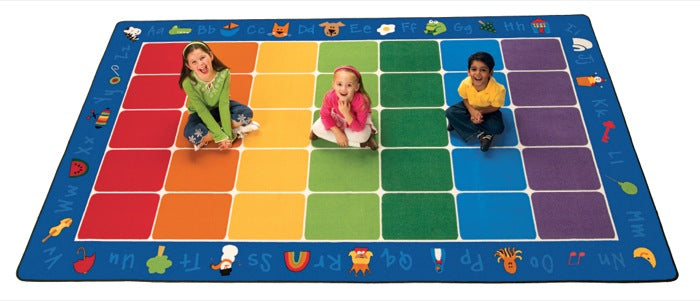 "Fun With Phonics Alphabet Classroom Circle Time Rug, 7'6"" x 12' Rectangle"